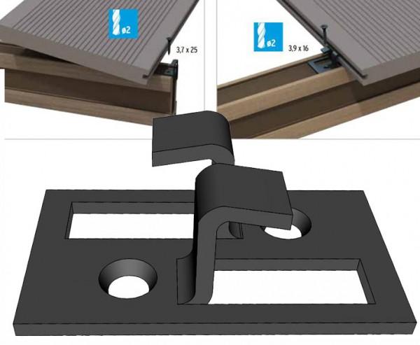 Edelstahlclip Set 50er Pack für Terrassen Dielen Befestigung Dreamdeck mit Nut System