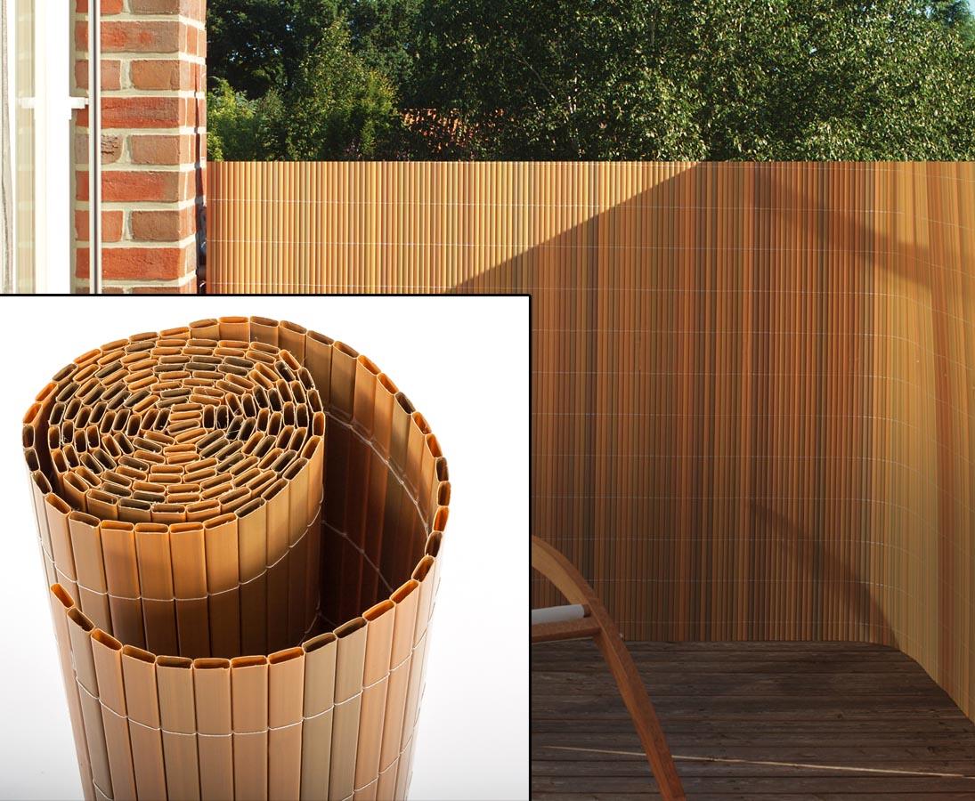 13+ Balkon Sichtschutz Sylt mit 8 x 8cm teak farbig günstig shoppen Bilder