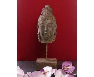 Buddha Kopf, auf Sockel montiert, Abmessungen ca. 40 x 12,5 x 12,5cm aus Polyresin Material