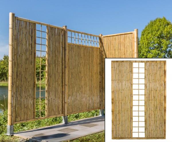 """Sichtschutzwand Bambus """"TEN"""" mit Spalier mittig 180 x 180cm"""