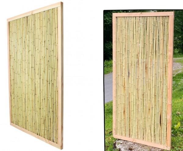 "Bambuszaun ""Koh Samui 2"" 180x90cm Bambusrohre Ø 1,8-2cm mit hellen Rahmen"