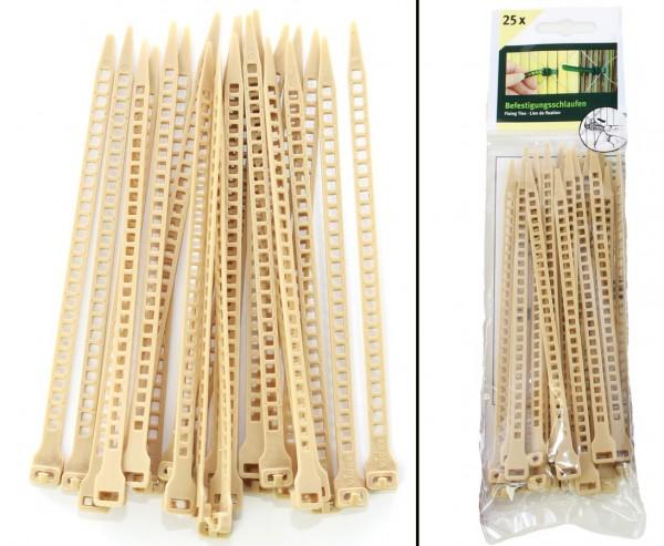 Befestigungsschlaufen Set mit 25 Stück, Kabelbinder Funktion bambus