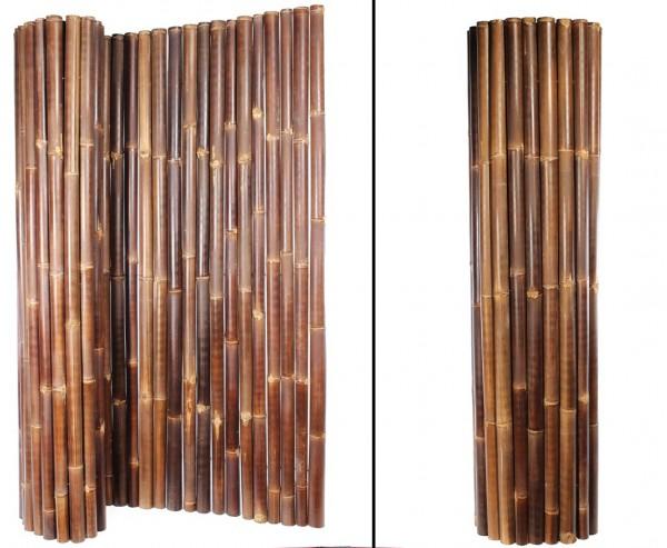 Bambusmatte schwarz H150xL250cm Durch 4-6cm Wulung Rohre mit Draht verbunden