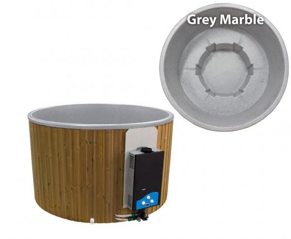 """Hot Tub """"Terrasse"""" 180cm Set mit Wandpaneele, Gasofen und Polyethylen Wanne grau marmoriert"""