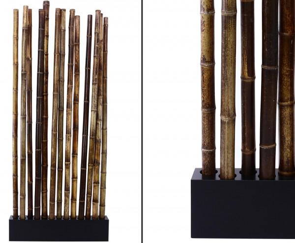 """Bambus Raumteiler """"Paris4"""" mit ca. 205x90x12cm, Sockel und 13 Rohre schwarz braun 5- 6cm"""