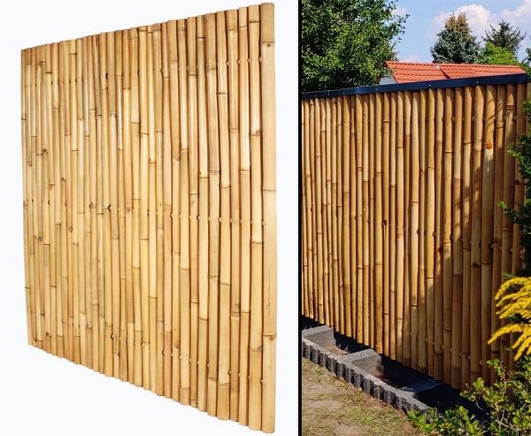 """Bambuswand 180x180cm gelblich starr """"Gigant2"""" aus Apus Bambus mit Durch. 6 bis 8cm"""