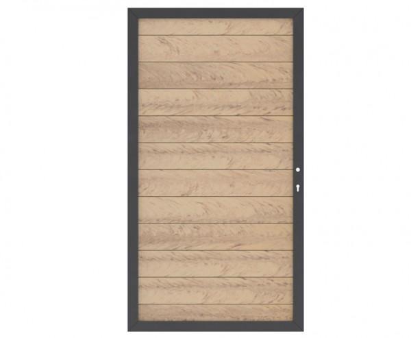WPC Sichtschutz Türe DIN links sandfarben mit 180x98cm mit anthrazit Metallrahmen