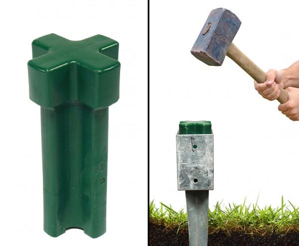 Einschlagwerkzeug für Bodenhülsen 7x7cm aus schlagfestem Kunststoff in grün