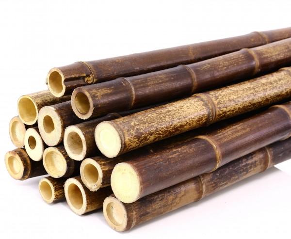 Bambusstäbe braun schwarz, naturbelassen, Durch. 2,8- 3,5cm, Länge 300cm