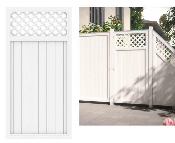 """Zaunelement mit Zierleiste """"Longlife Riva"""" weiß, 180 x 90 aus Kunststoff"""