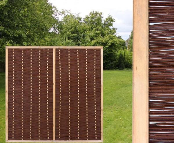 """Weidenwand """"Mia"""" 180x180cm hochwertig mit Mittelstrebe, gekochte Weide, Holz gebeizt"""