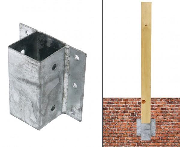 Anschraubträger als Hülse für Zaunpfosten mit 7x7cm, Grundplatte 15,5x14,8cm