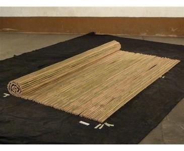 Sichtschutz aus Bambusrohren Tonkin, Rollzaun gelblich natur mit 240x240cm, Durch. Bambus 2,7-3cm