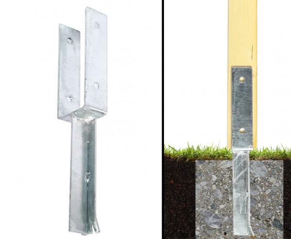 Stützenschuh schwer für Zaunbau 9,1x5cm zum Einbetonieren in U-Form als Träger mit 40,5cm
