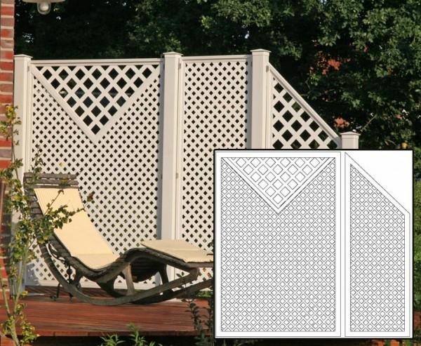HDPE Terrassen Sichtschutz Set2 weiß, mit 2 Basiselementen, Pfosten und Zubehör, Maße L:220 x H:190c