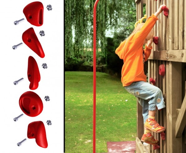 Klettersteine rot, 5er Set mit Schrauben für Spielturm
