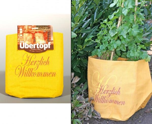 """Pflanzen überwintern mit orange farbigen Jute Übertopf """"Herzlich Willkommen"""", Durch. 55 x 45cm"""