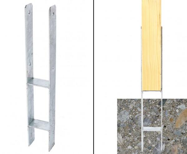 H-Träger als Bodenanker für 9cm Pfosten für den Erdverbau, Stahl feuerverzinkt