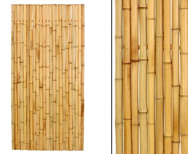 Bambuszaun, Moso gelb gebleicht, starr mittels Bambus verbunden mit 180x90cm, Durch. Bambus 3,5- 4cm