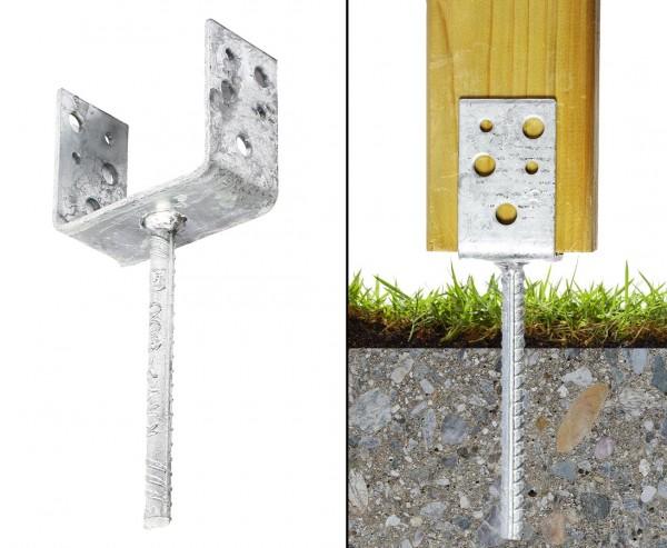 Pfostenträger für Zaunbau 7,1x5cm zum Einbetonieren in U-Form als Stützenschuh mit 23cm