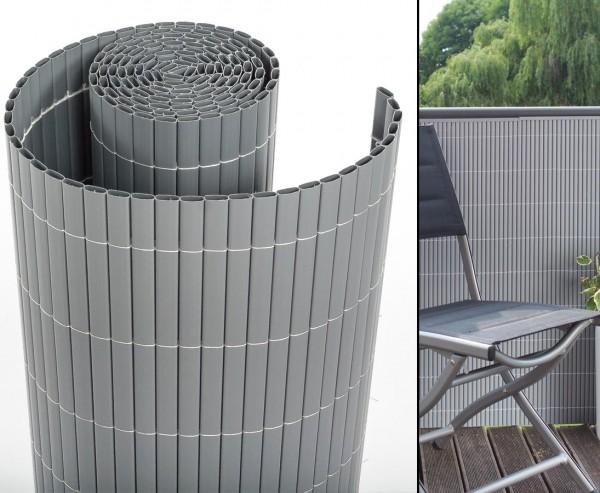 """Kunststoff Sichtschutz, """"Sylt"""" mit 80 x 300cm, aluminium/silber"""
