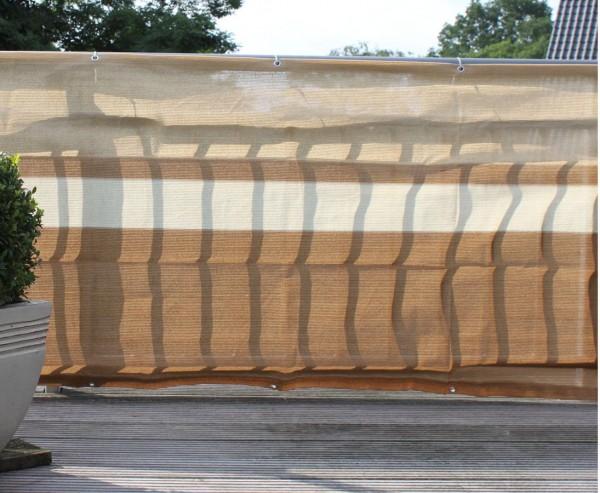 Balkonbespannung aus hochwertigen Kunststoffmaterial, 90x500cm, terrakotta/beige