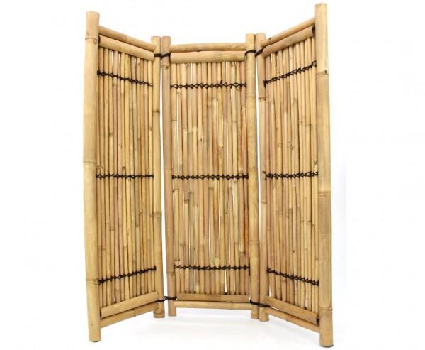Trennwand aus Bambus 3teilig gelb- braun geschnürt 180x180cm, Apus und Petung Rohre