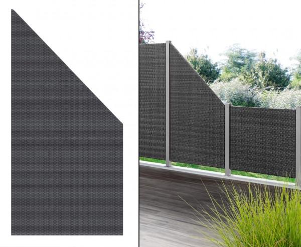 Sichtschutz Polyrattan Geflecht Abschluss anthrazit, 178 x 88cm