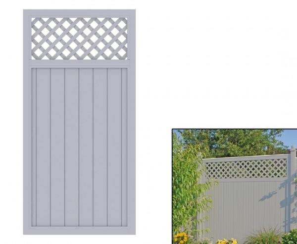 """Sichtschutzzaun mit Zierleiste """"Longlife Riva"""" grau, 180 x 90 aus Kunststoff"""
