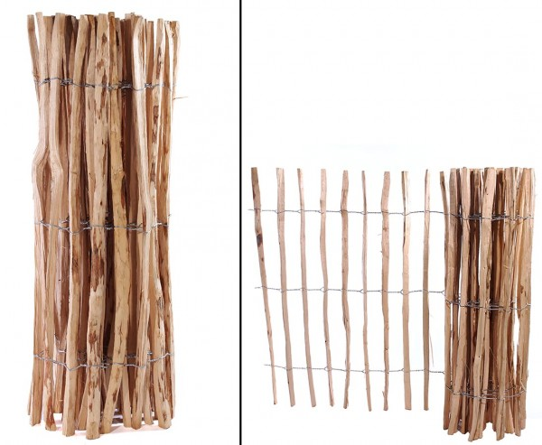 Zaun aus Kastanien-Staketen mit je ca. 3,5cm, 120 x 460cm