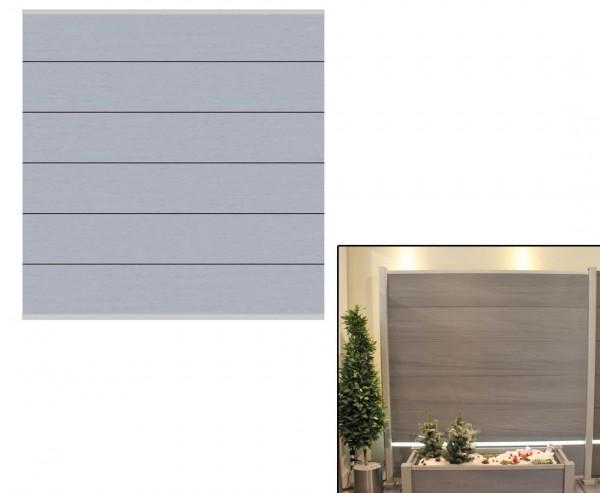 Sichtschutz System XL WPC grau 178x183cm, Set mit Leisten silber