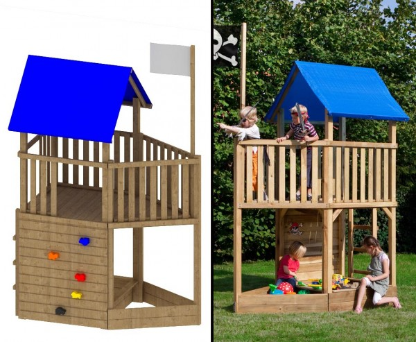 "Spielturm Piratenwelt ""FIPS"", 109x196x290cmSpielhaus System aus Holz, Kletterturm, Spielwelt"
