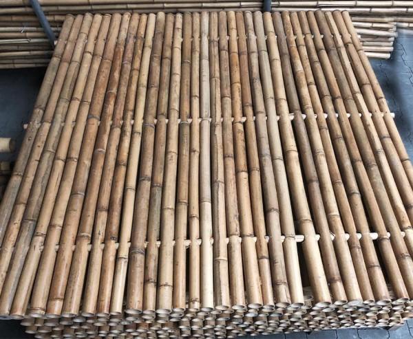 Bambuselement hitzebehandelt 240x150cm starr mit Rohren von 4- 6cm als B-Ware