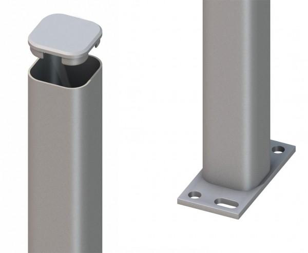Zaunpfosten aus Metall silber zum aufschrauben 105cm