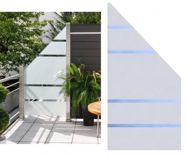 Sichtschutz Glas Anschluss ALPHA 180/90x90cm rechts, satiniert mit 4 durchsichtigen Streifen