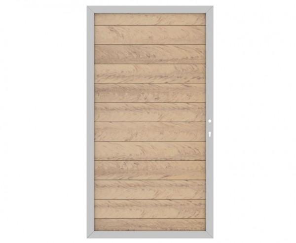 WPC System Sichtschutz Türe DIN rechts sandfarben mit 180x98cm, silberner Metallrahmen