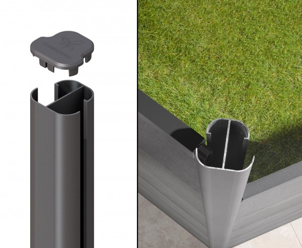 WPC Sichtschutzzaun Eckpfosten Basic anthrazit 105cm, Winkel von 75° bis 180°