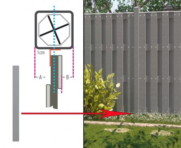 Zaunpfosten kurz, Kunststoff mit Metallkern 100x8,4x8,4cm
