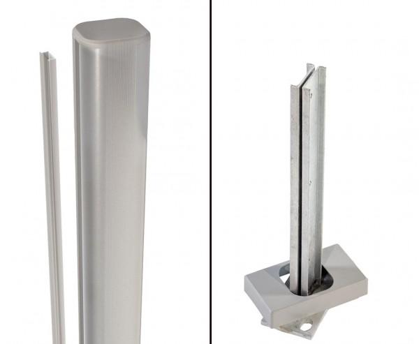 Zaunpfosten System basic silber zum aufschrauben 105cm