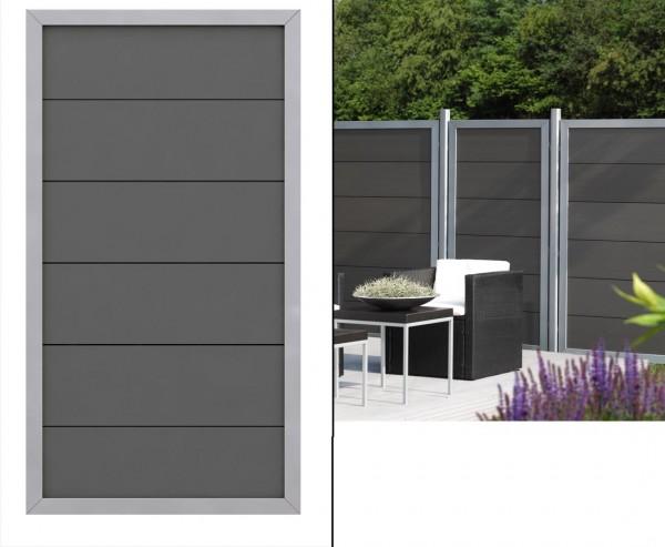Sichtschutzwand Design WPC anthrazit Alu mit 180x90cm