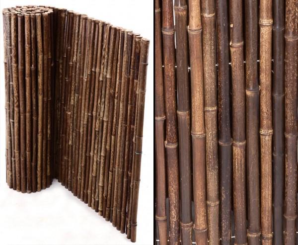 Bambusmatte schwarz, stabile Ausführung, Bambusrohr Durch. ca. 24mm, 90x250cm