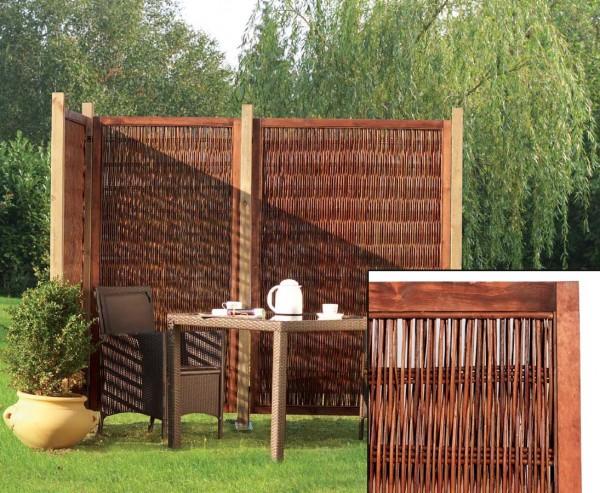 Sichtschutzelement aus Weide, Cornwell mit 180 x 180cm, blickdicht naturbelassen.