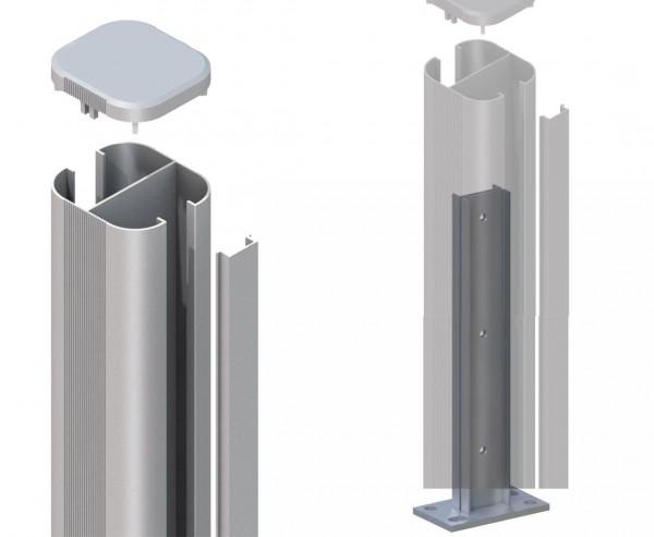 Zaunpfosten System basic silber zum aufschrauben 193cm