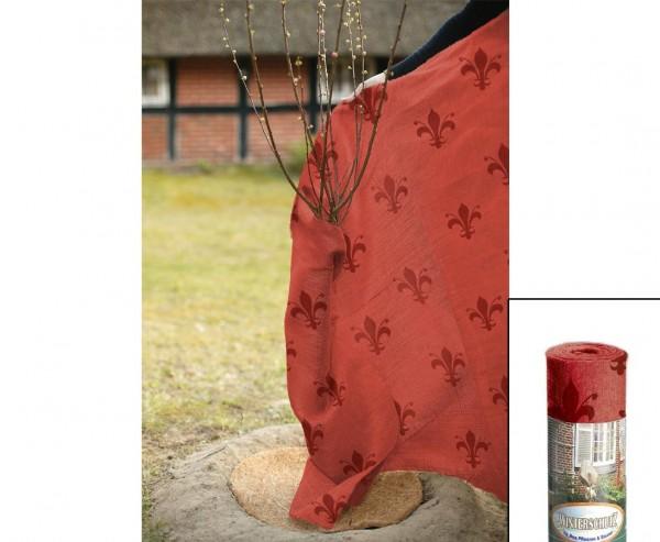 Winterschutz Jute Gewebe, im Lilien Design, Abmessungen ca. 105 x 500cm, rot/ dunkel rot