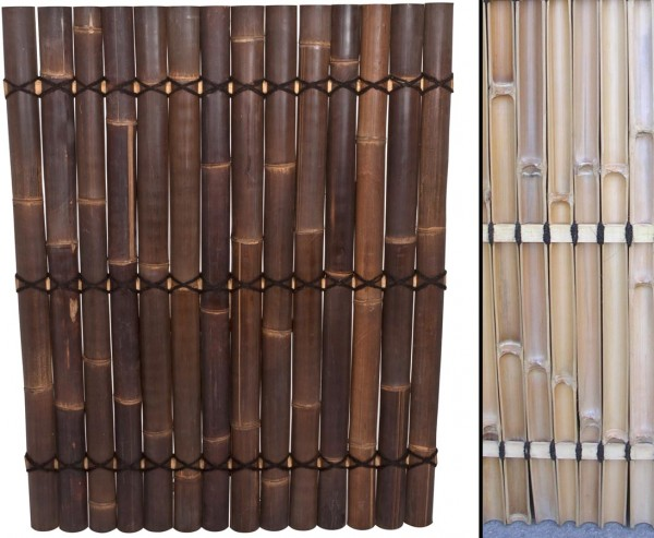 """Bambus Zaun """"Apas"""" schwarz- braun, starre Verschnurrrung, Druch. 6 bis 8cm, 150 x 120cm"""