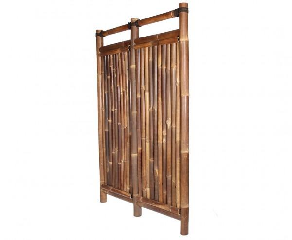"""Bambuszaun """"Jakarta"""" 180x120cm schwarz-braun starr aus Wulung Bambus mit 6 bis 7cm"""