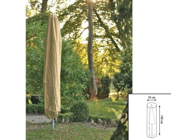 Gartenmöbel Schutzhülle, für Sonnenschirm, mit 140cm und einem Durch. von 35cm, beige-uni