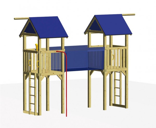"""Spielhaus Set """"RIALTO"""" mit 2 Türme und Hängebrücke"""
