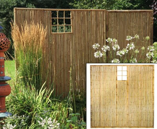 """Bambus Sichtschutzwand, """"TEN"""" mit Ausschnitt oben mittig, 180x180cm"""