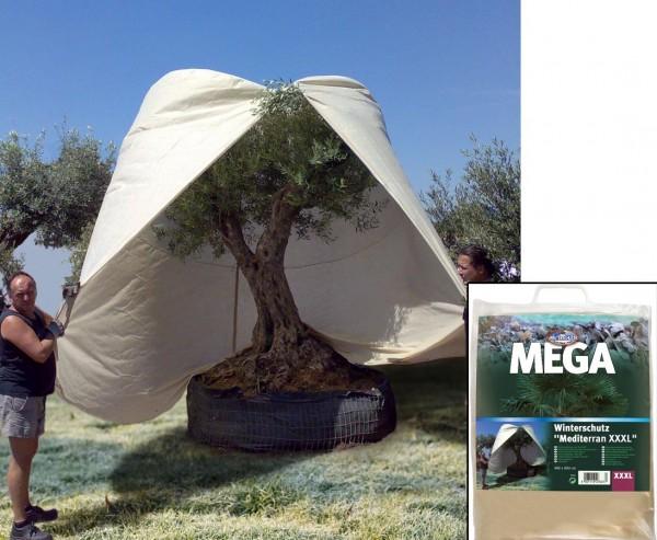 Winterschutz Vlieshaube XXL für Palmen und Bäume mit H:350 x B:250cm in beige mit Reißverschluß